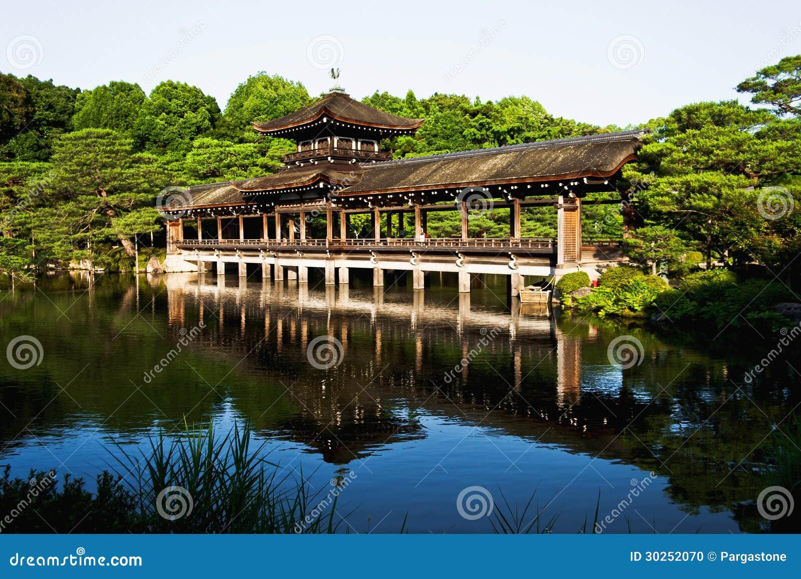 Amazing Old Japanese Heian Palace Bridge In Kyoto Stock