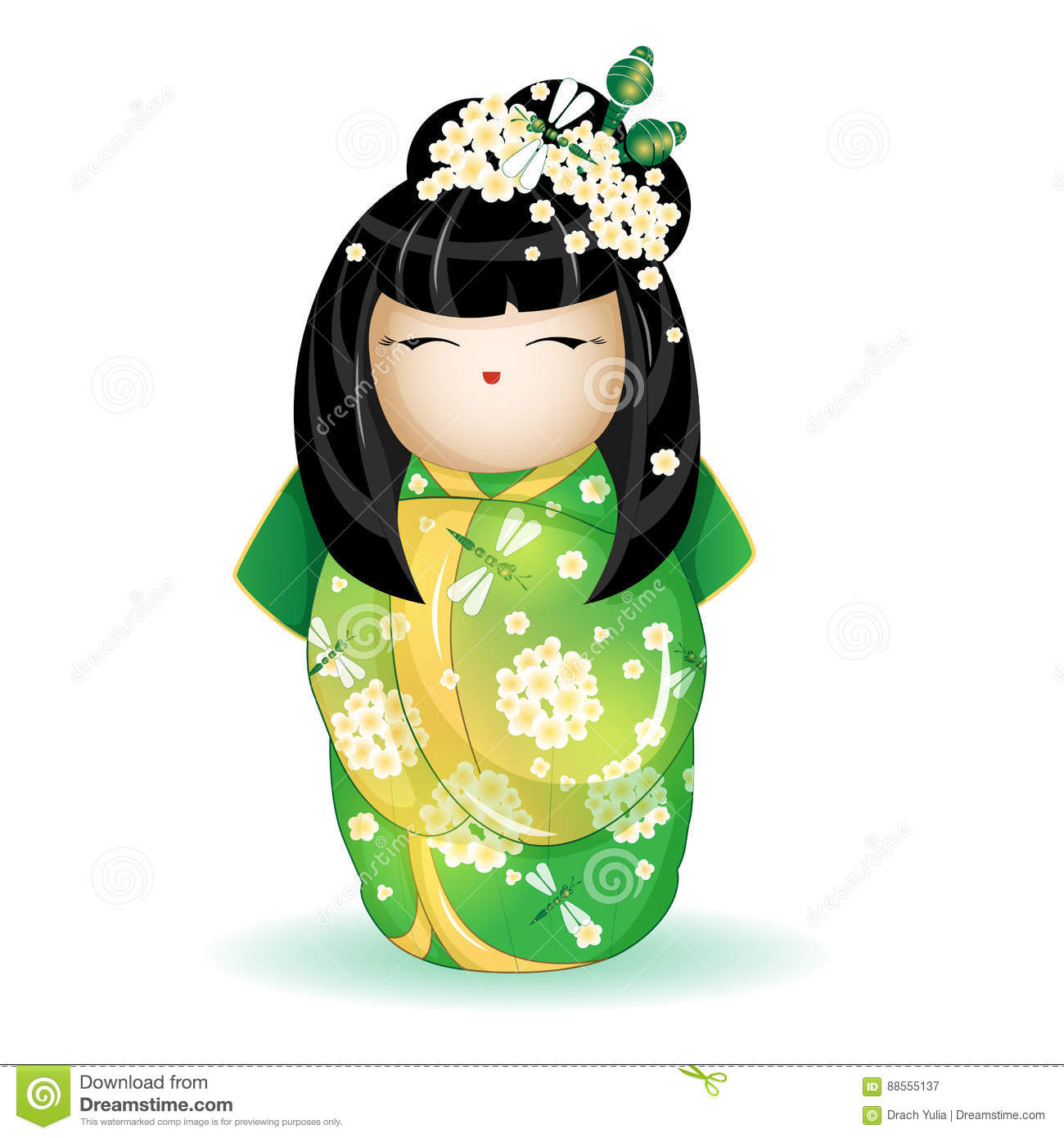 Download Japan National Kokeshi Doll In A Green Kimono With Pattern Of White Flowers And