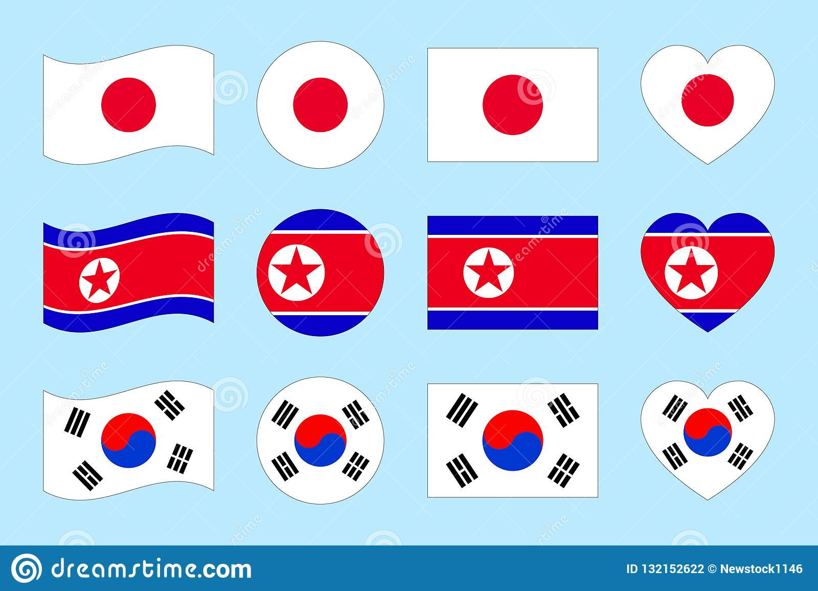 Japan, North Korea, South Korea Flags Vector Set  Flat Isolated
