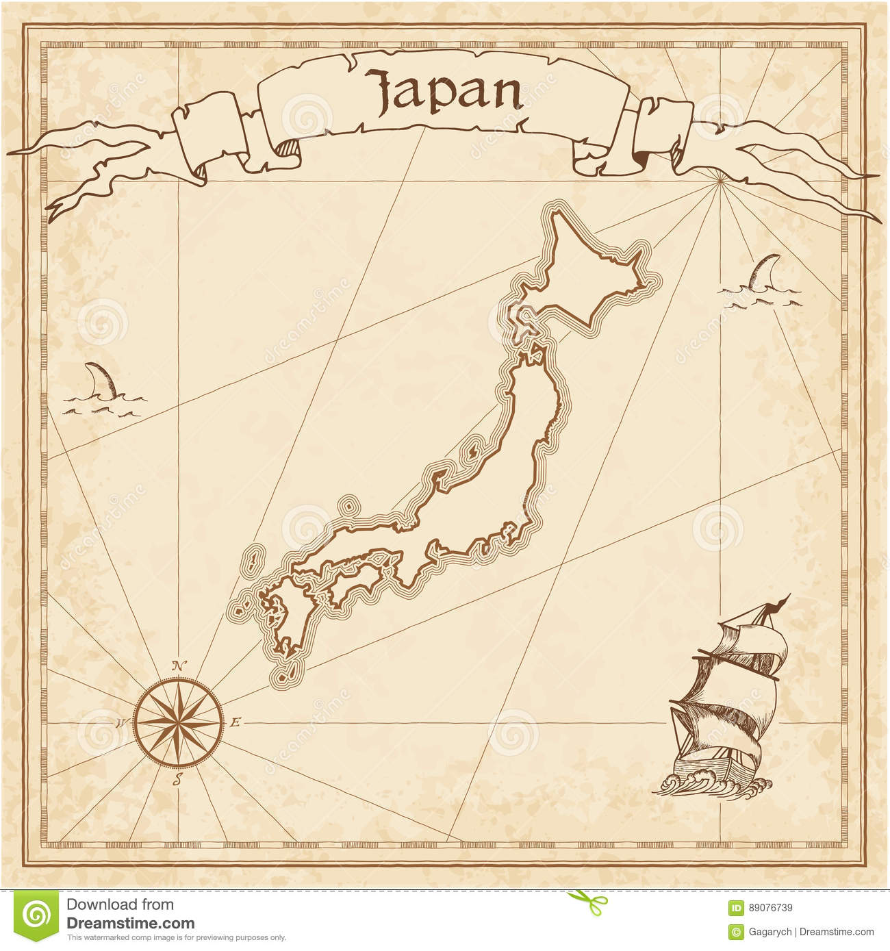 Map Of America And Japan.Japan Old Treasure Map Stock Vector Illustration Of America 89076739