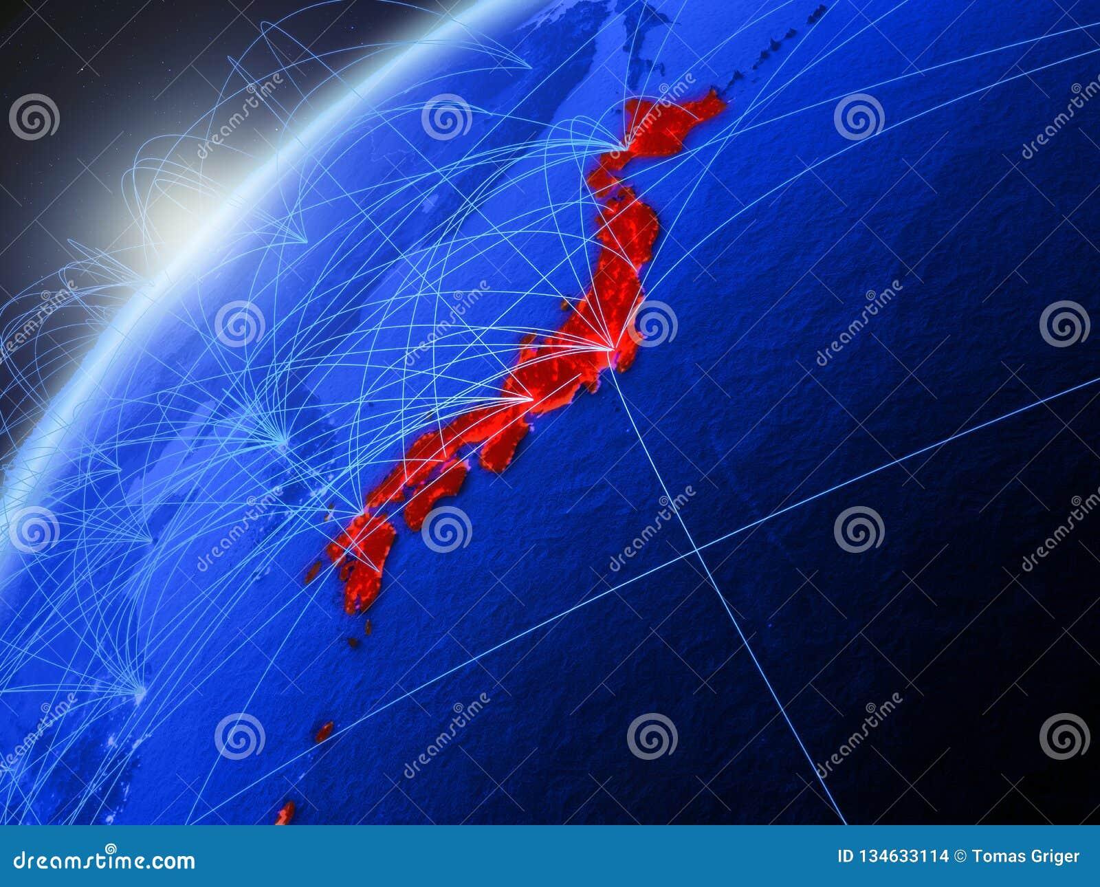 Japan op blauwe Aarde met netwerk