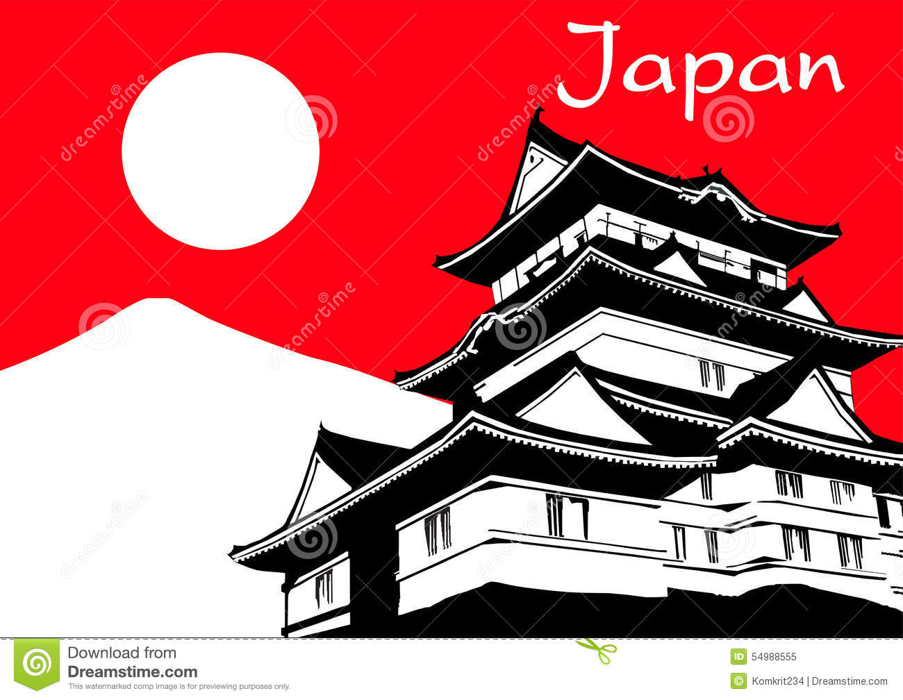 Japan Pagoda With Fuji Mountain Vector Stock Vector ...