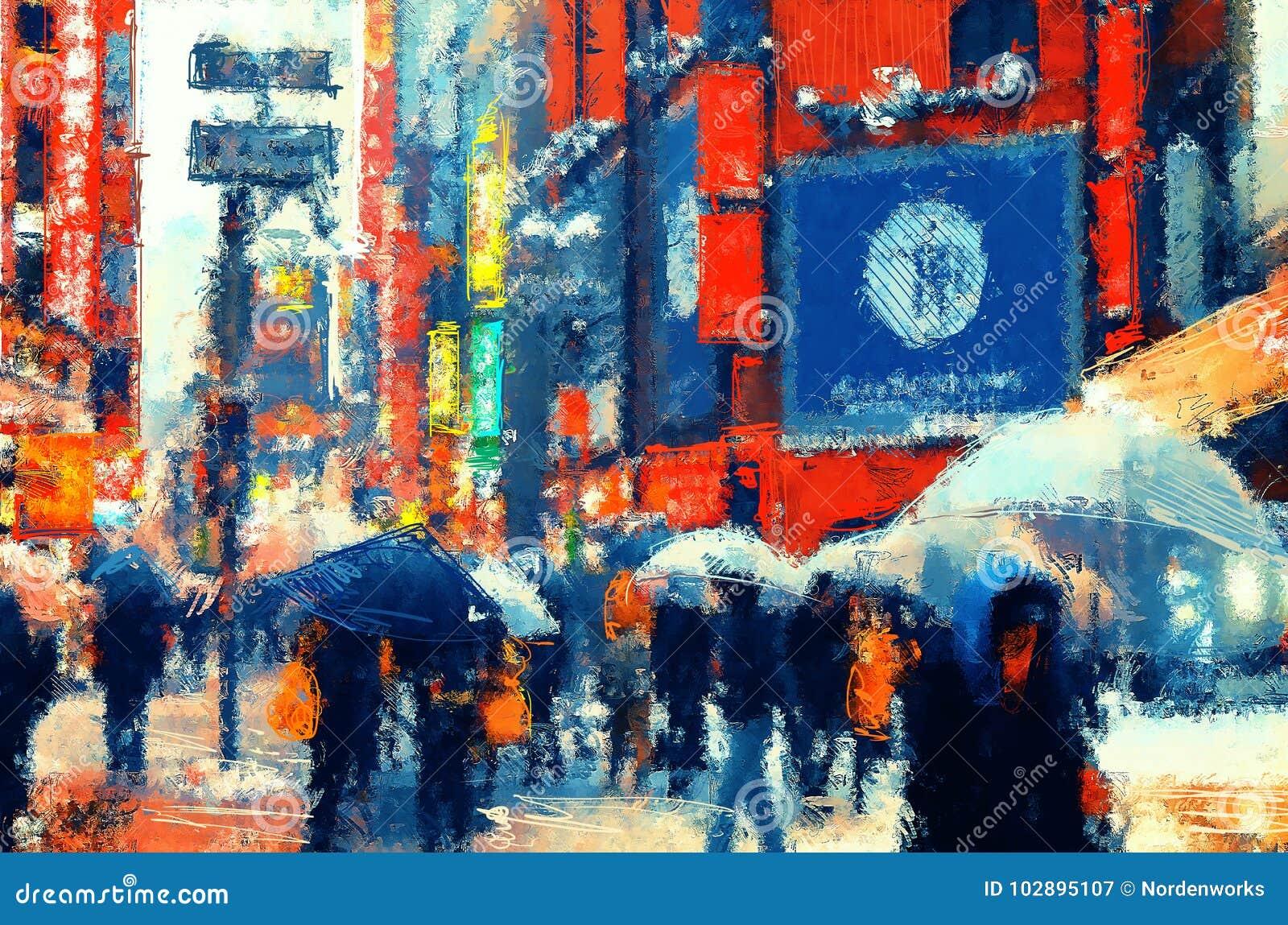 Japan People Walking On A Street Illustration Painting