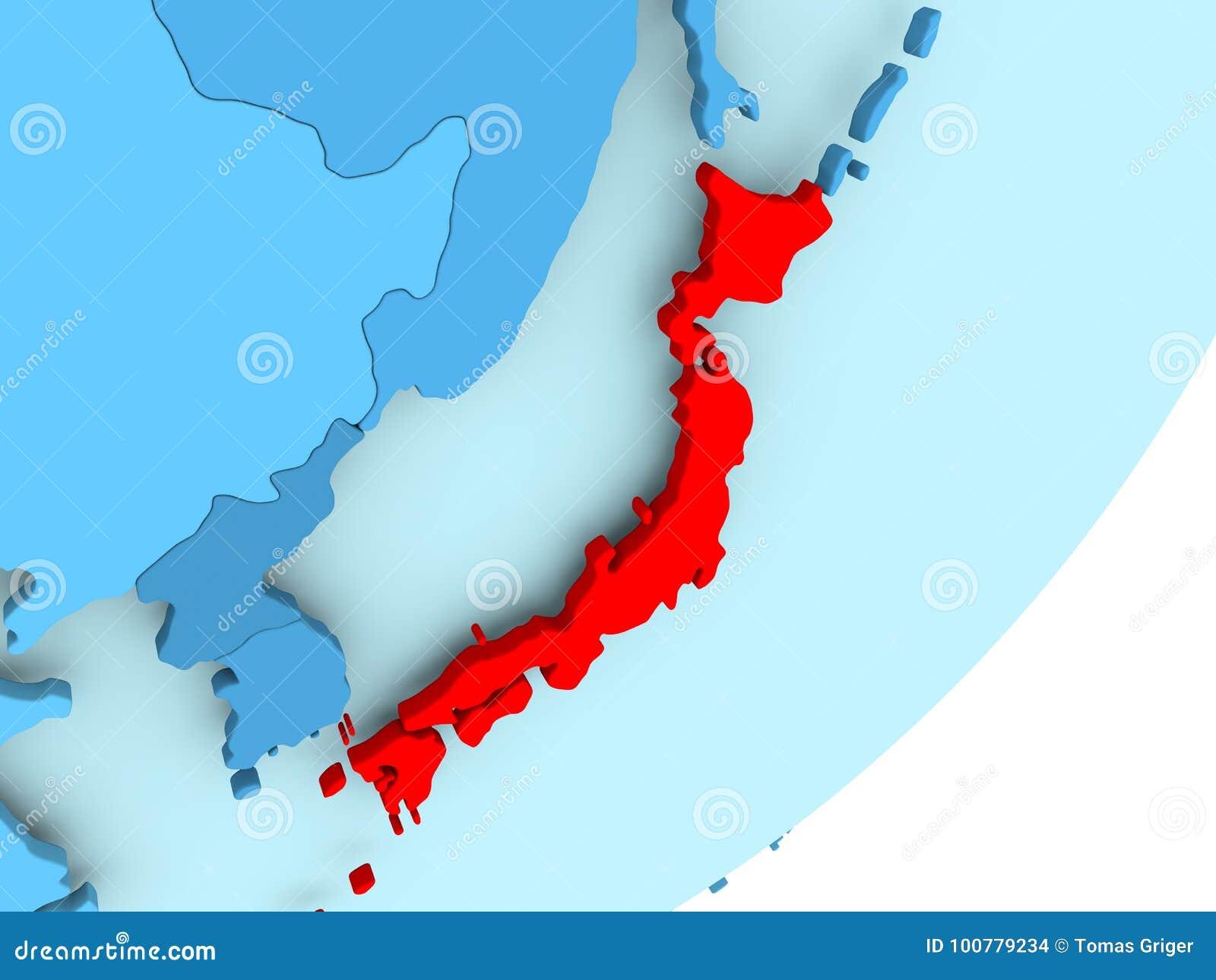 Map Of Japan On Blue Political Globe Stock Illustration