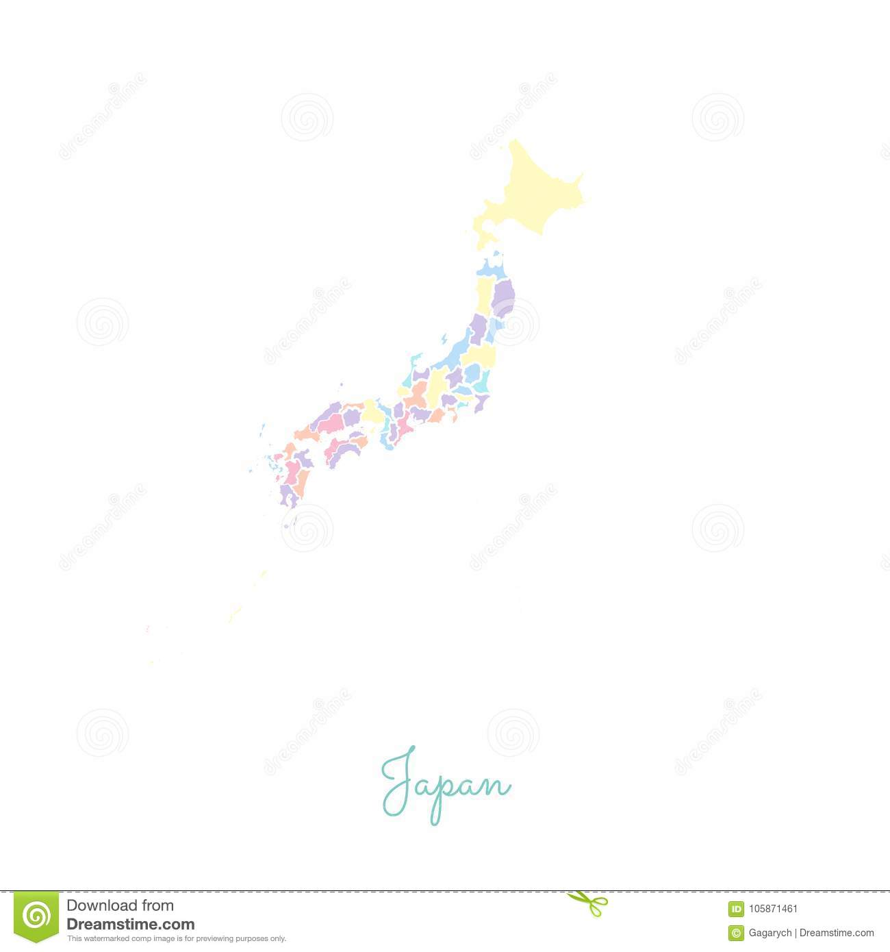 Japan Map Regions.Japan Region Map Colorful With White Outline Stock Vector