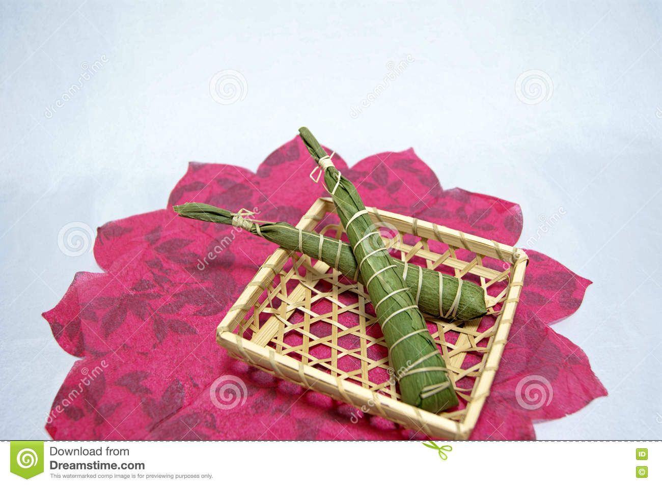 Japan s traditional celebration: rice cakes wrapped in leaves of bamboo on the Children s day