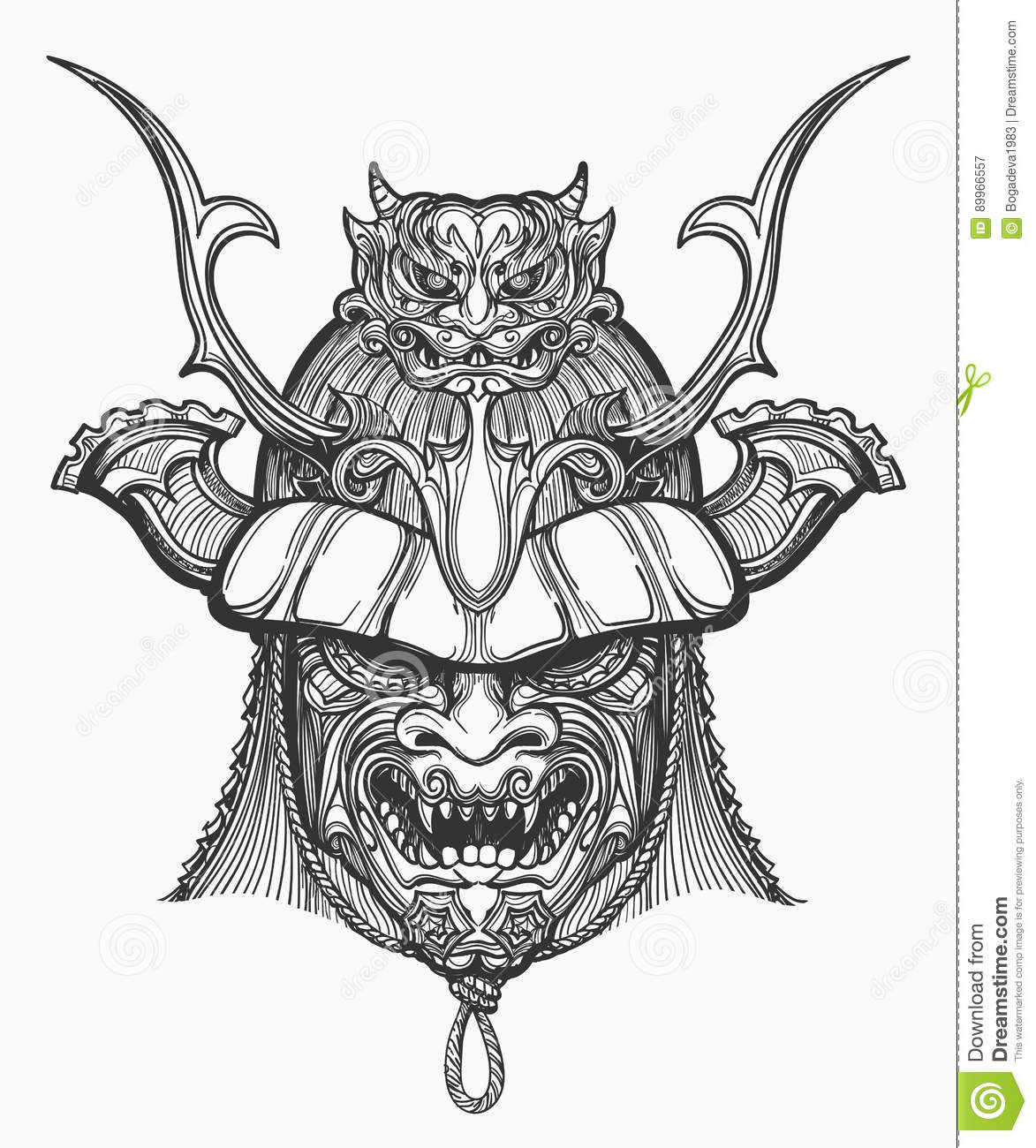 5720995bb0f39 Samurai mask hand drawn illustration. Japanese traditional martial mask.  Black and white isolated on white.