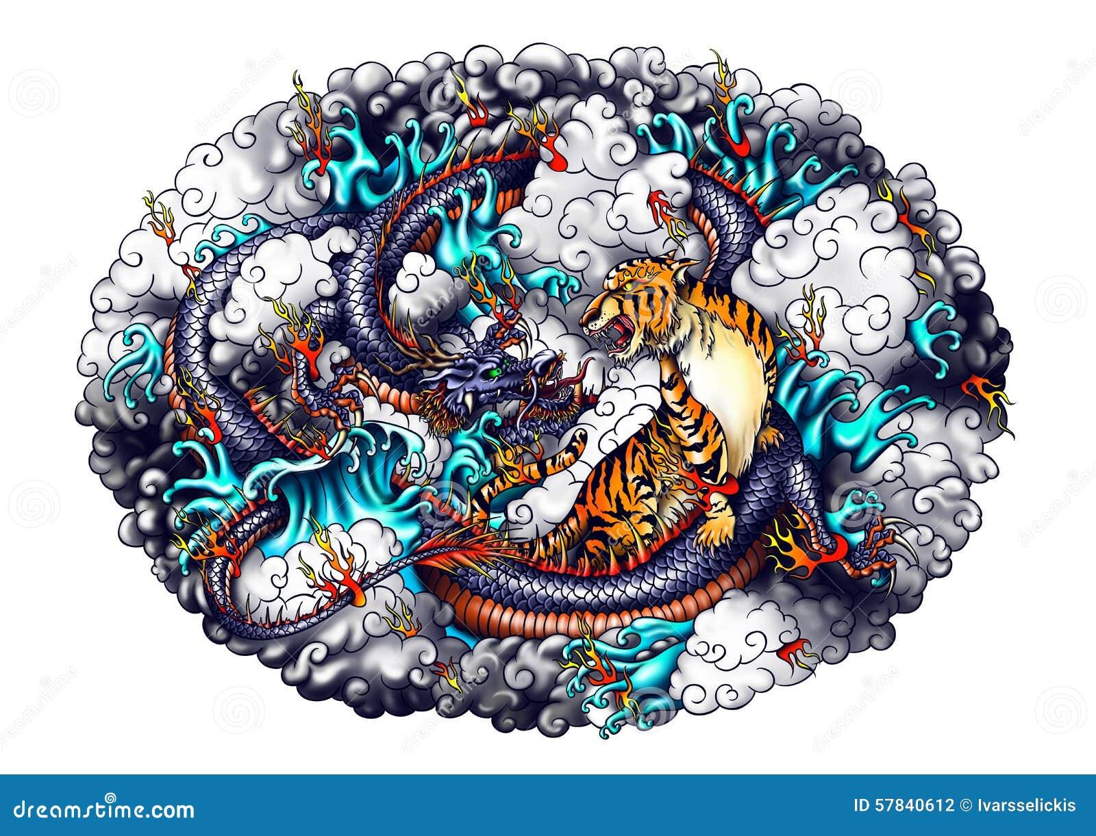 Japan Style Dragon And Tiger Design  Stock Illustration