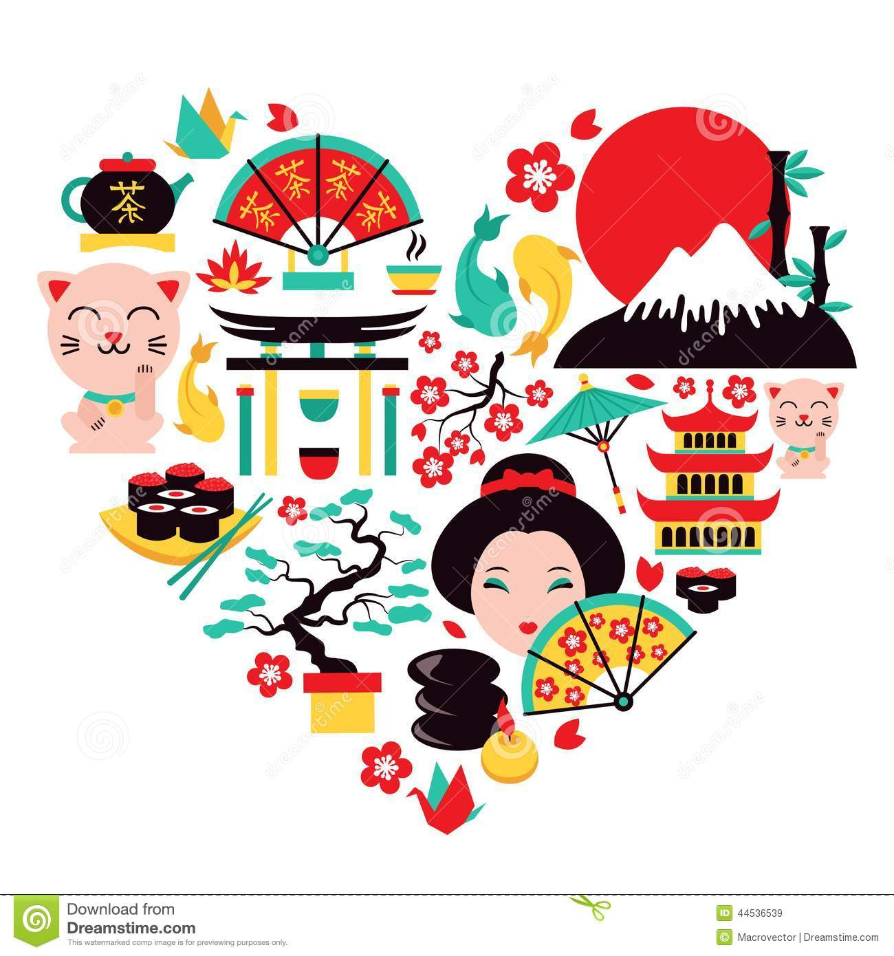 Japan Symbols Heart Stock Vector - Image: 44536539
