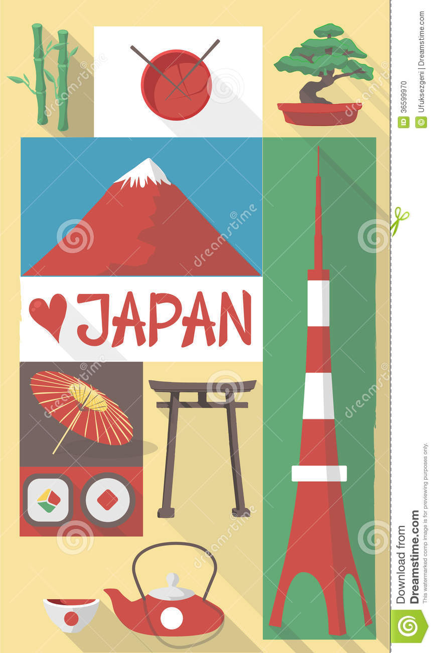 Stock Photo: Japan symbols on a poster or postcard. Image ...