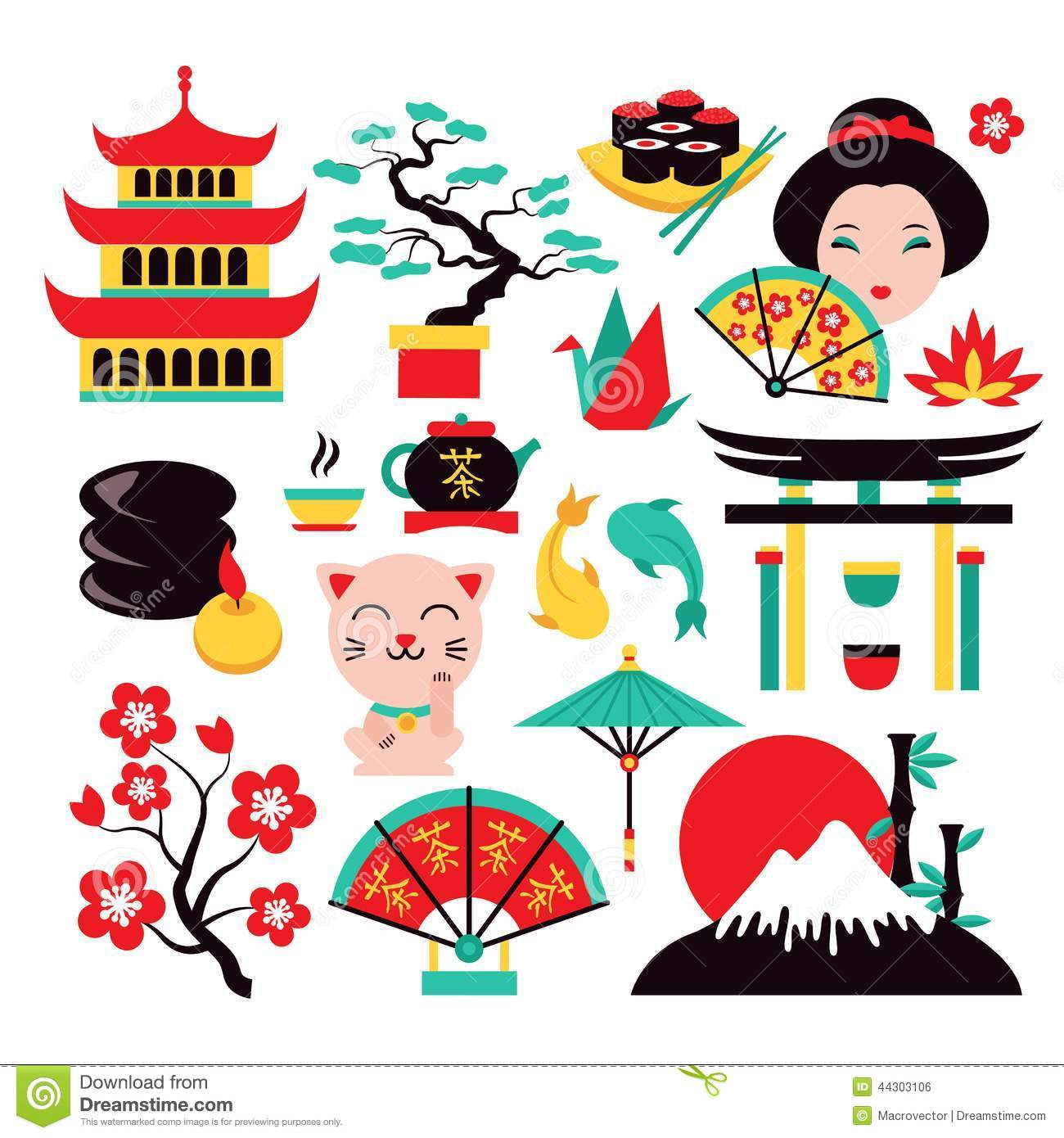 japan symbols set stock vector illustration of design. Black Bedroom Furniture Sets. Home Design Ideas