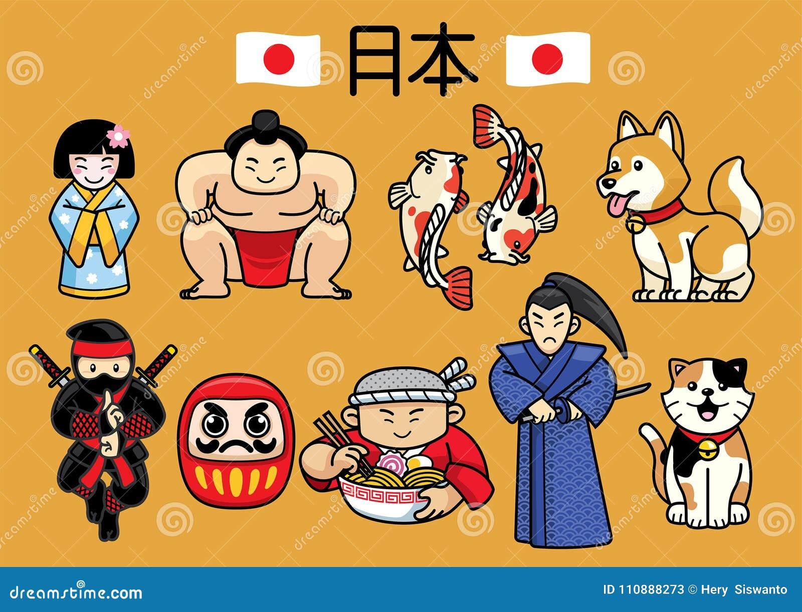 Japan teckenkultur i uppsättning