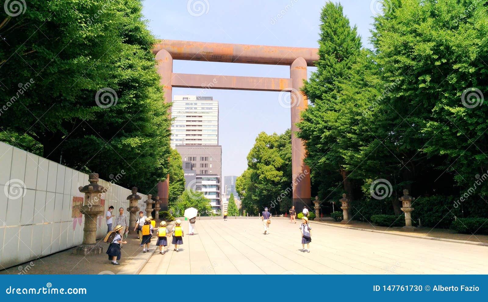 Japan Tokyo, sikten av de lilla studenterna