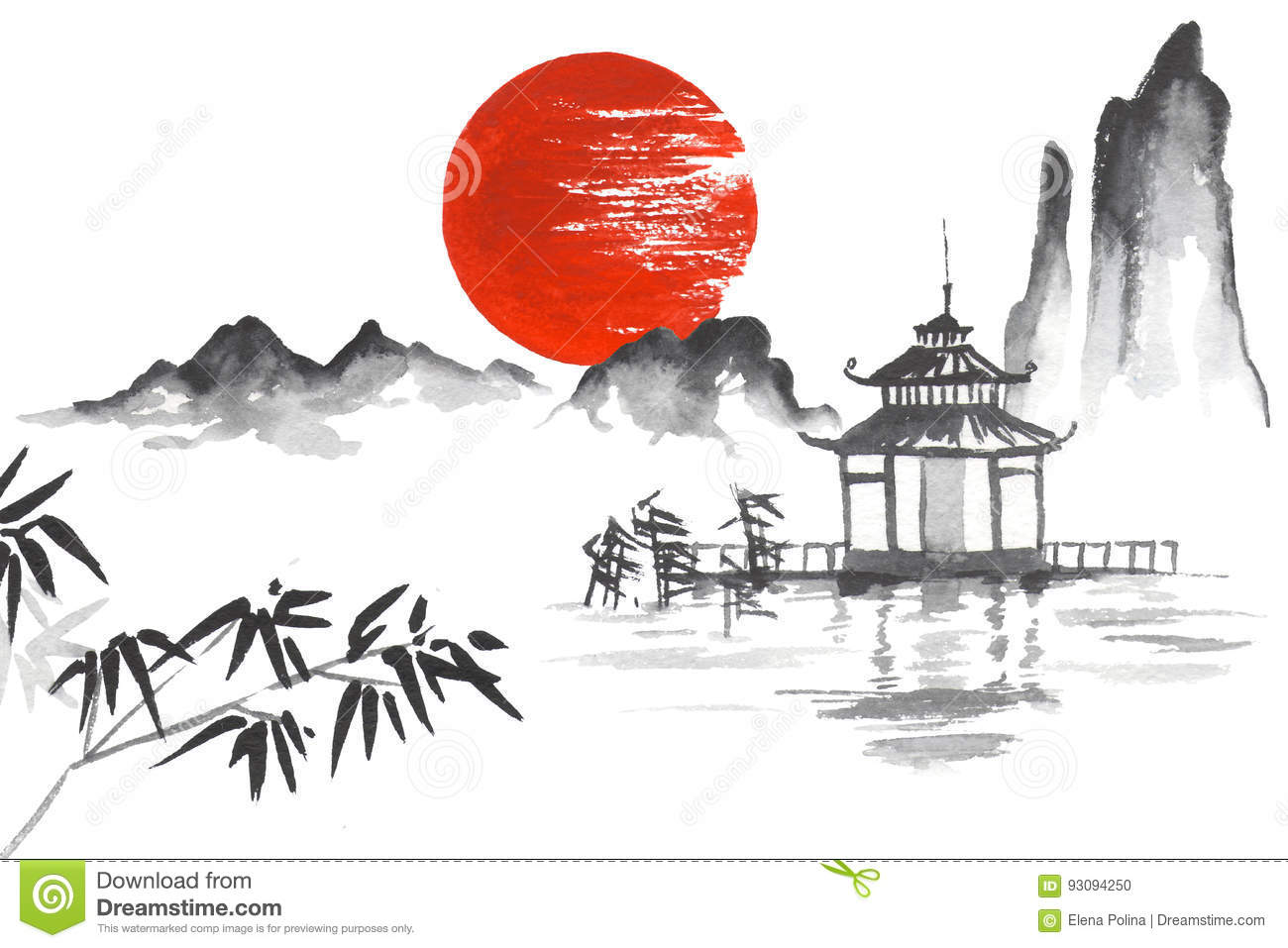 Japan traditional japanese painting sumi e art