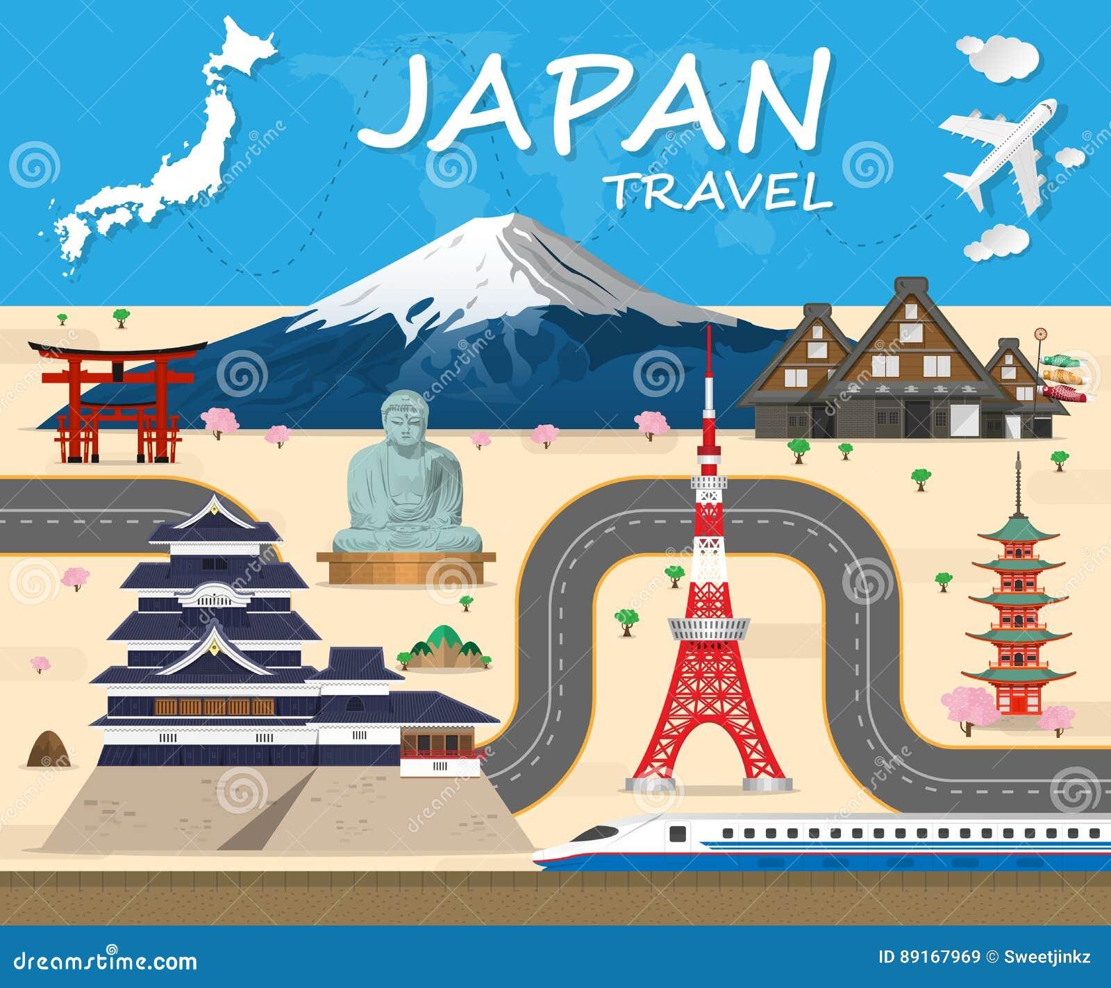 japan travel brochure template - japan travel background landmark global travel and journey