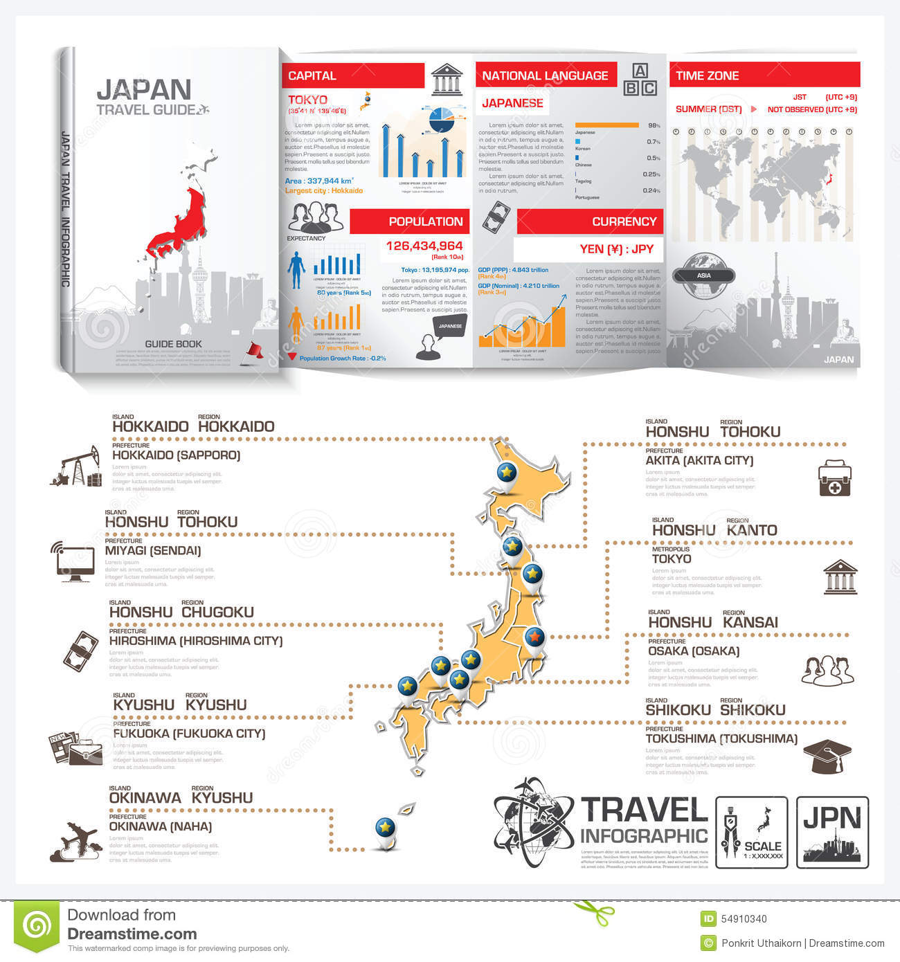 Elegant Japan Travel Guide Book Business Infographic With Map On Guidebook Template