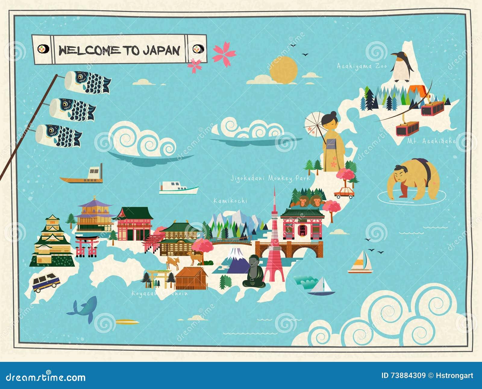 Japan Travel Map Stock Vector Image - Japan map cartoon