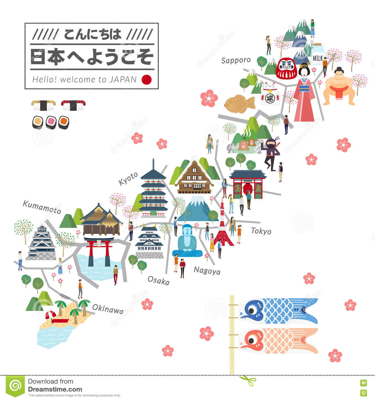 japan travel map. japan travel map stock illustration image of heritage