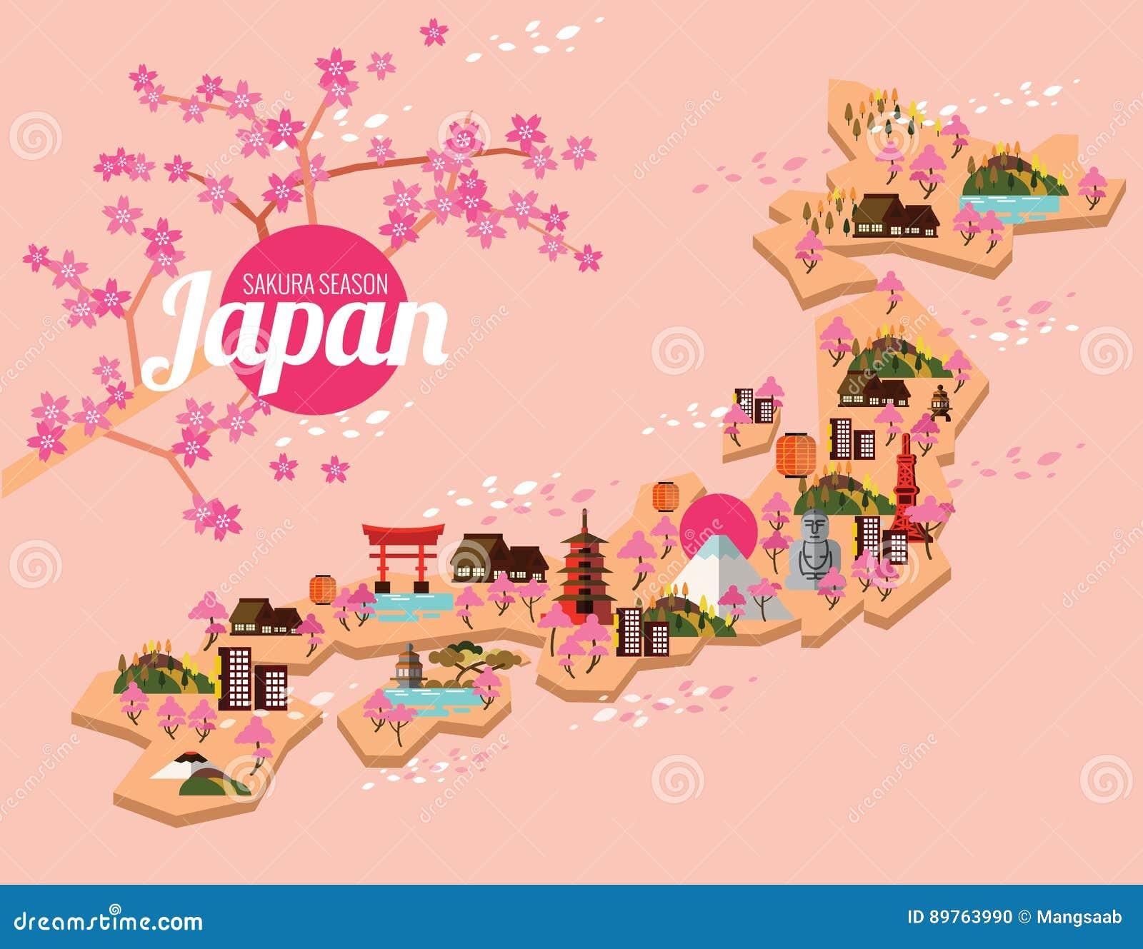 Japan Travel Map Sakura Season In Japanese Stock Vector Image - Japan map cartoon