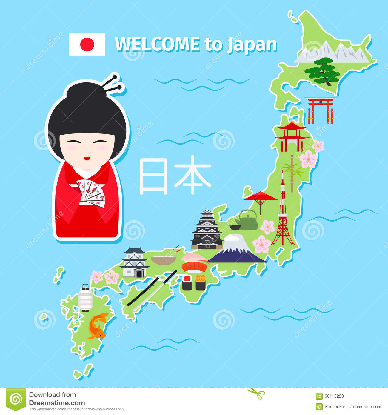 Japan Travel Map Vector Image 66116228 – Tourist Map Of Japan