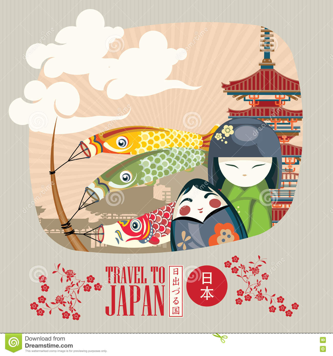 Japan travel poster with asian traditional symbols - travel to Japan.