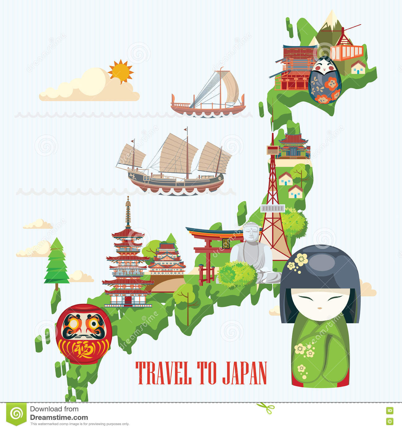 Japan Travel Poster With Map Travel To Japan Stock Vector - Japan map vector art