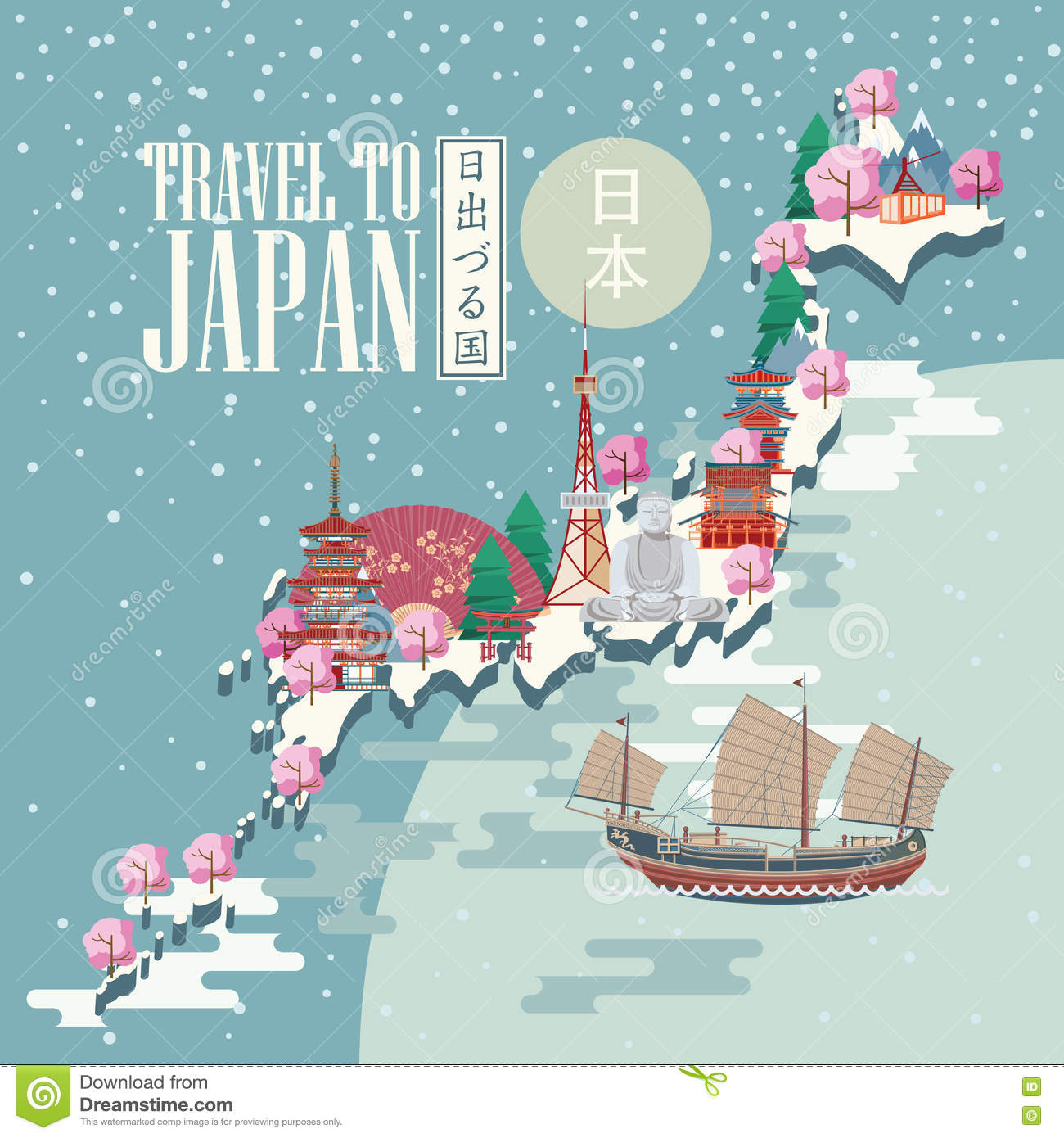 Japan Travel Poster With Snow Map Travel To Japan Stock Vector - Japan map poster