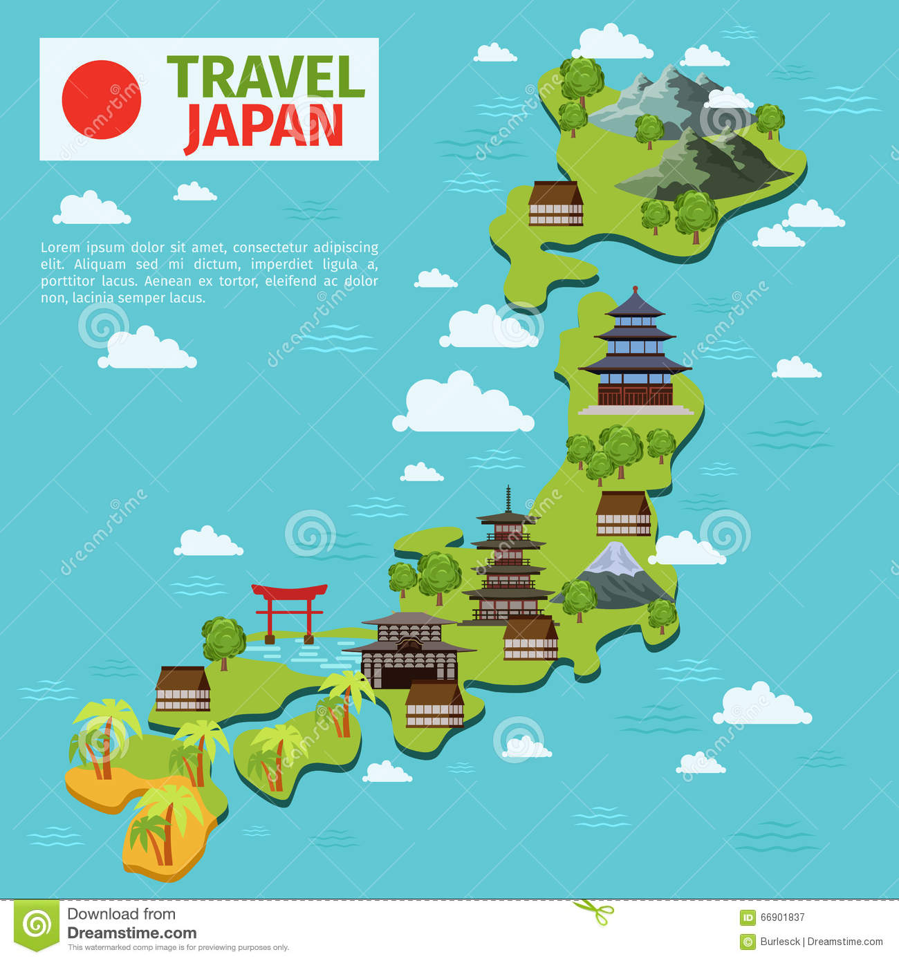 Japan Travel Vector Map With Traditional Japanese Landmarks Stock - Map japan