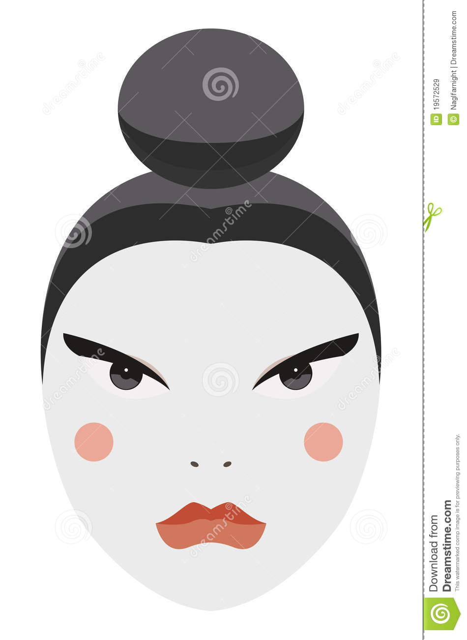 Japan Vector Geisha Face With Traditional Make Up Stock