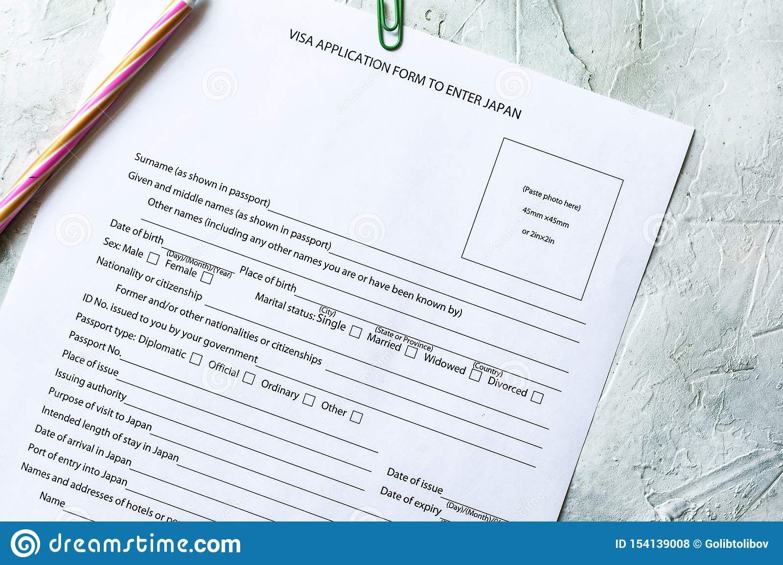 Japan Visa Application Form Stock Photo Image Of Official Background 154139008