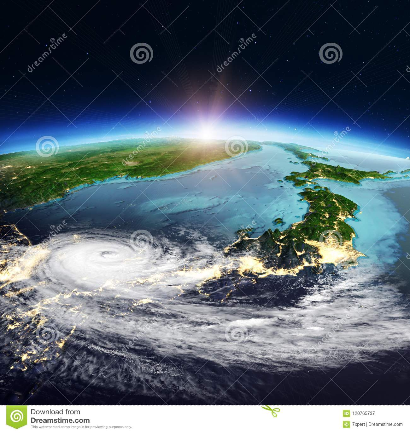 Japan weather map. 3d rendering