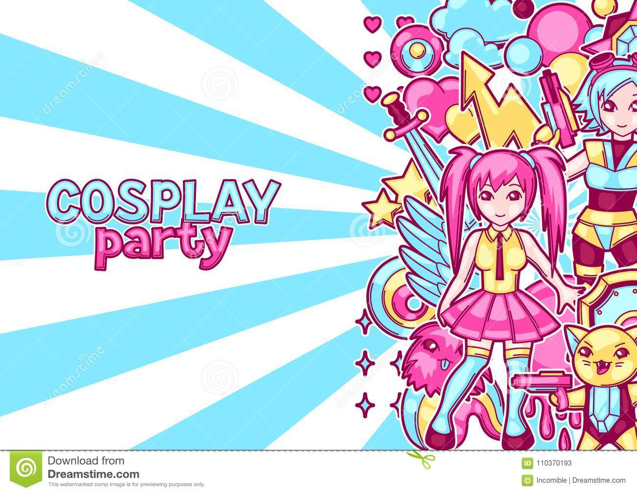 Japanese Anime Cosplay Party Invitation Cute Kawaii Characters And