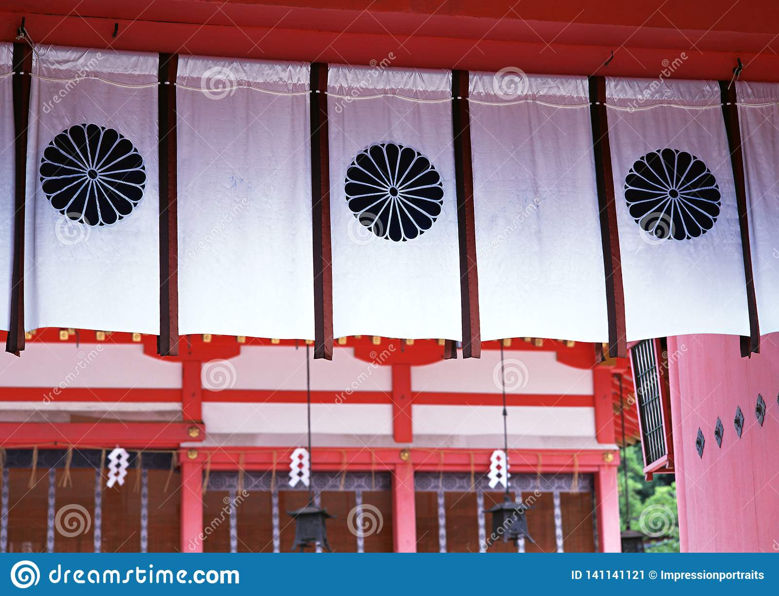 Japanese architectural white display curtains with floral patterns in it background
