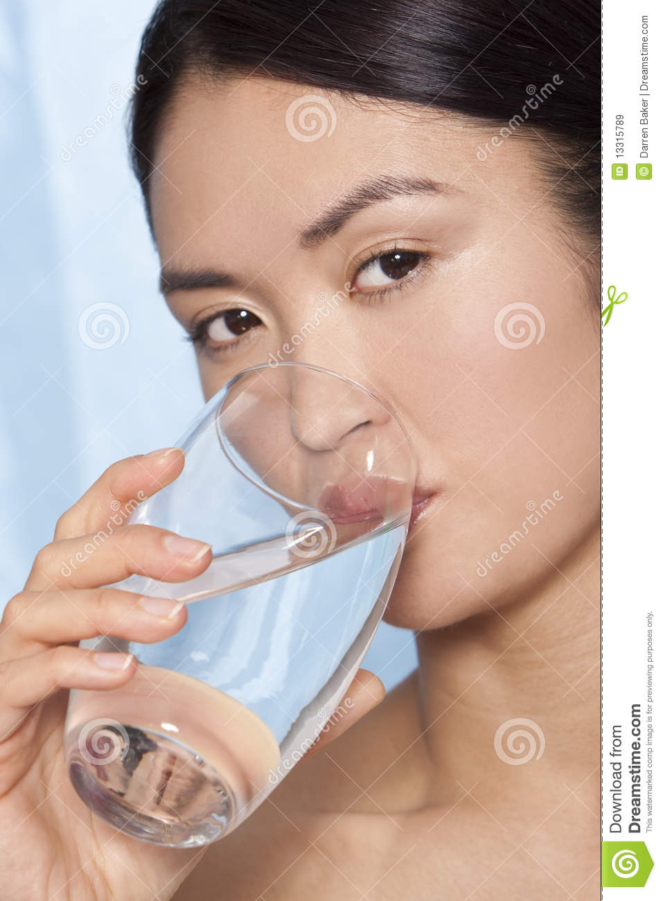 Japanese asian woman drinking glass of water royalty free for Water in japanese