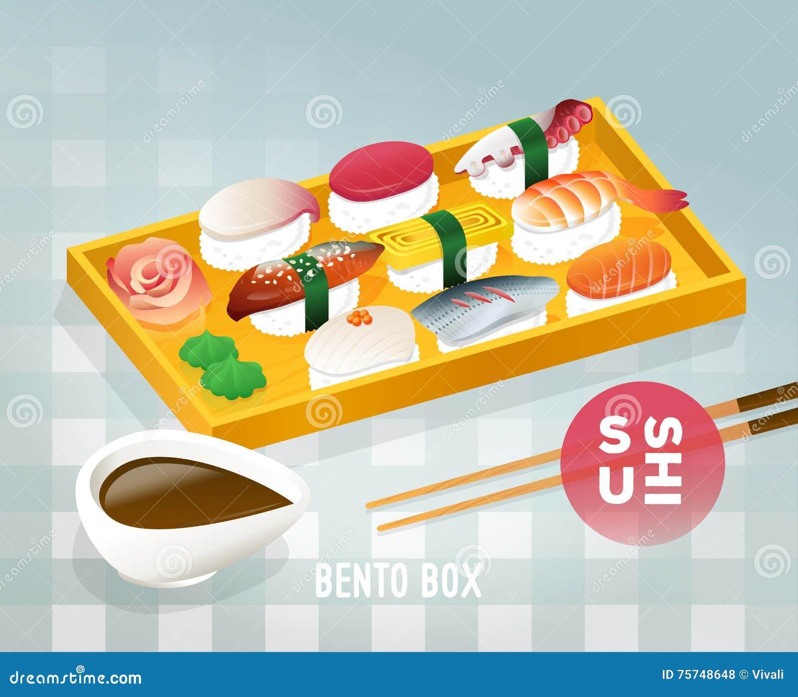 japanese bento food vintage poster design. stock vector