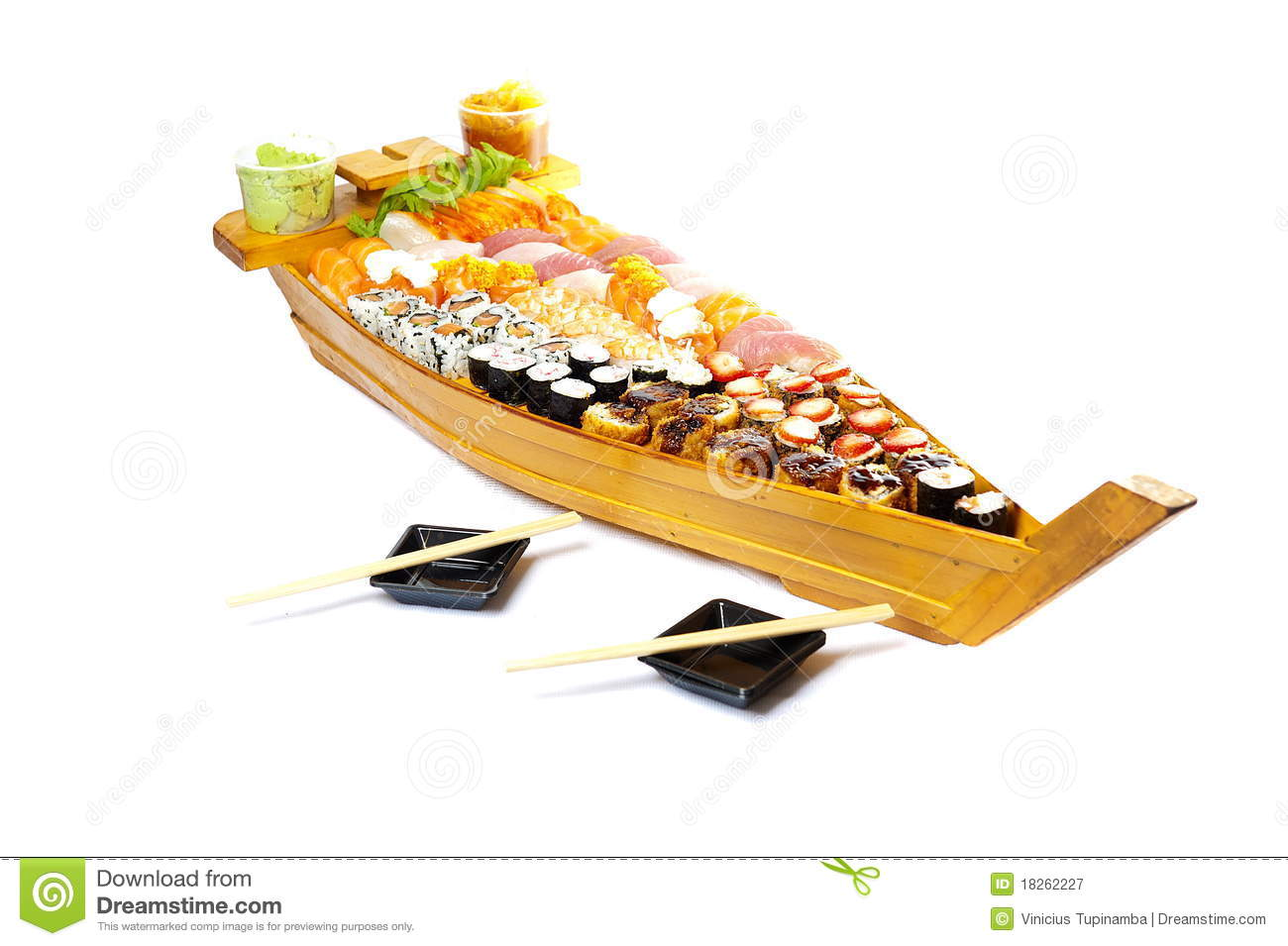 Wood boat with several japanese food .
