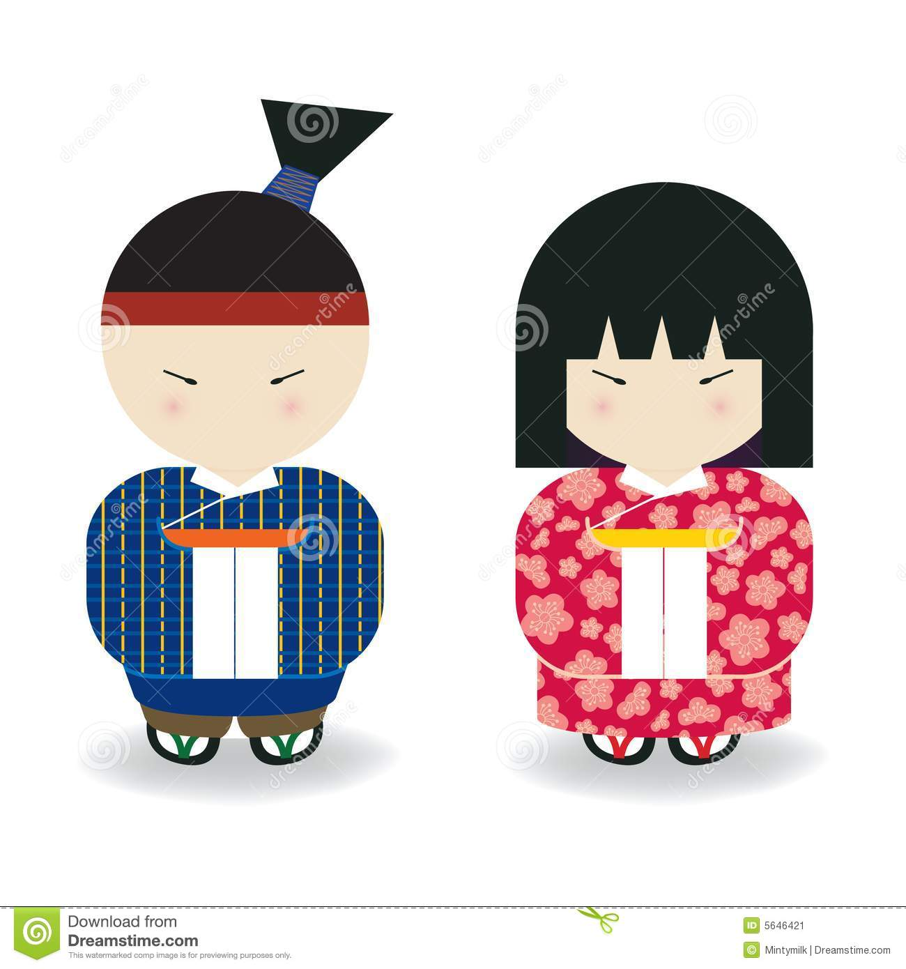 Japanese Boy & Girl stock illustration. Illustration of ...