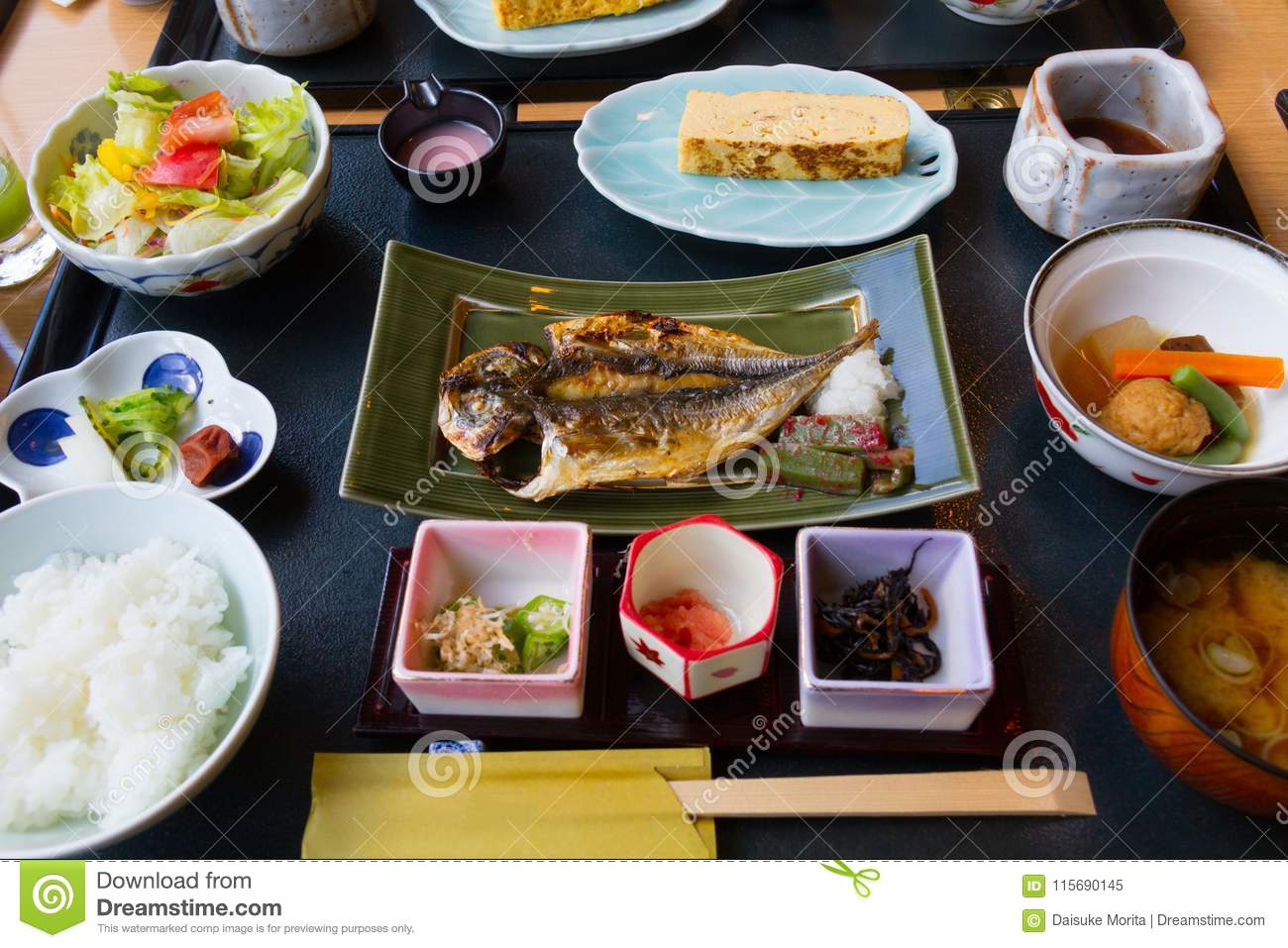 Japanese Breakfast Dishes Including Cooked White Rice