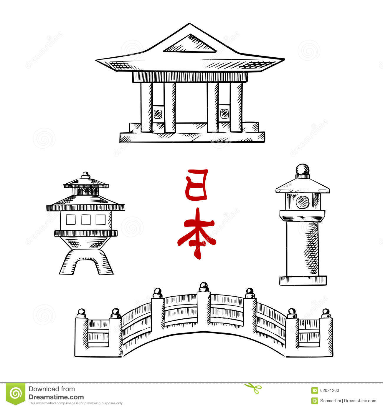 Japanese bridge temple and stone lanterns stock vector for Architecture orientale