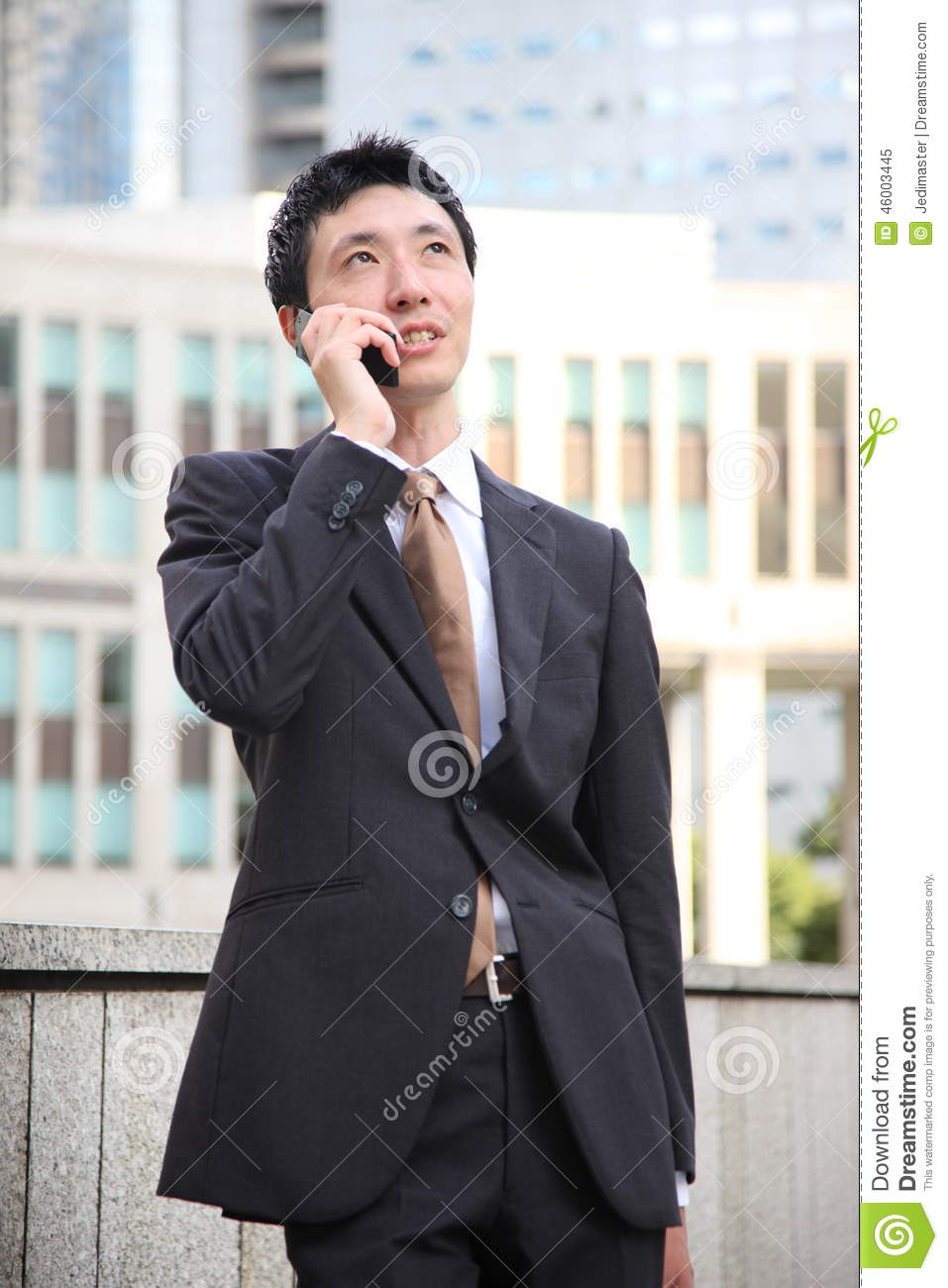 Japanese Businessman Talks With A Mobile Phone Stock Image ...