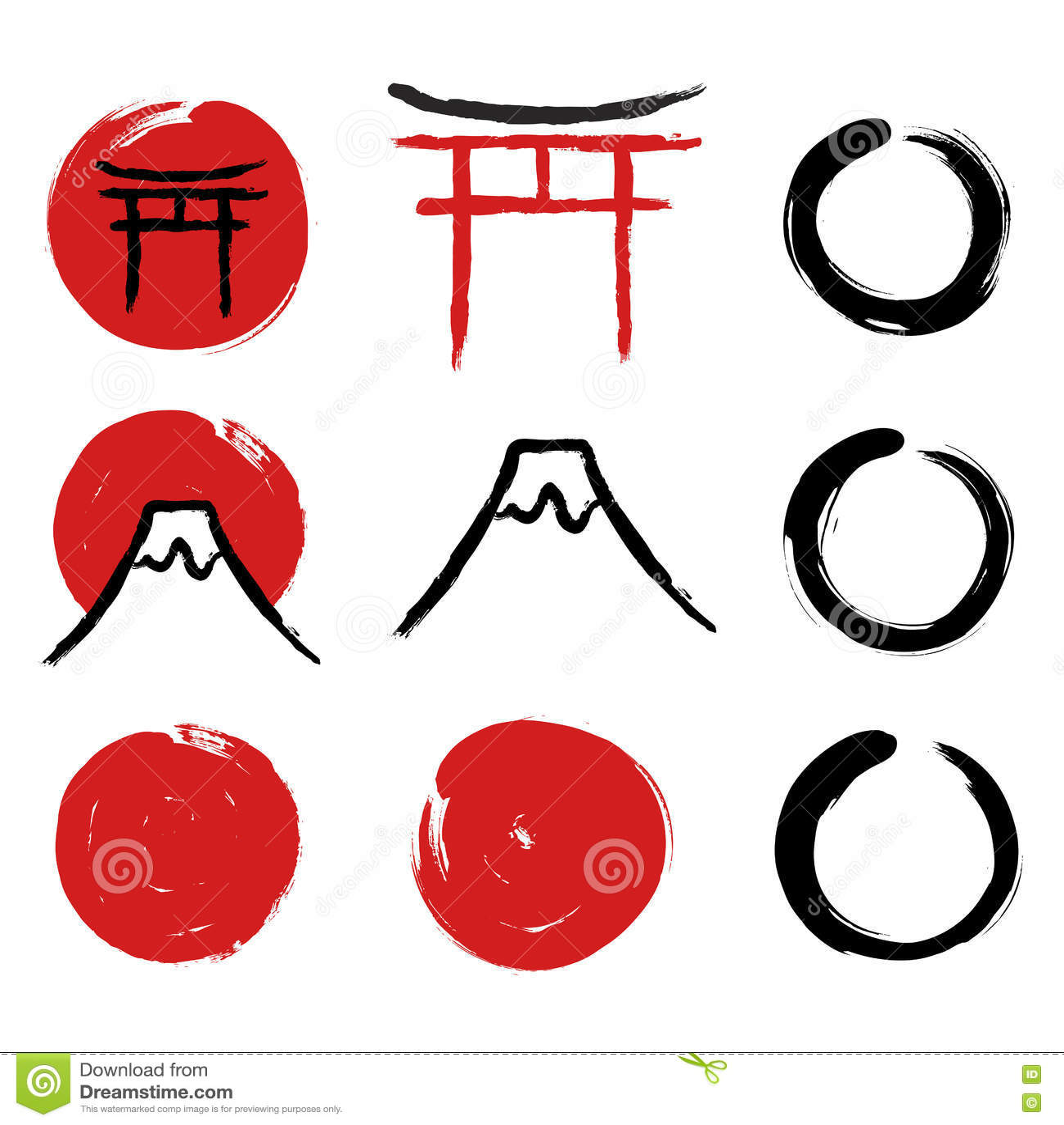 Japanese Calligraphy Symbols Stock Vector Illustration Of Japan