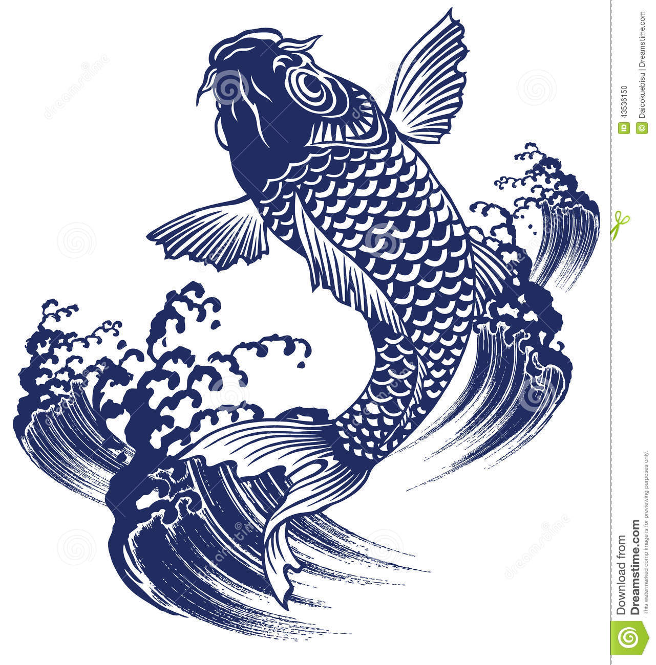 Japanese Carp Stock Vector Image 43536150