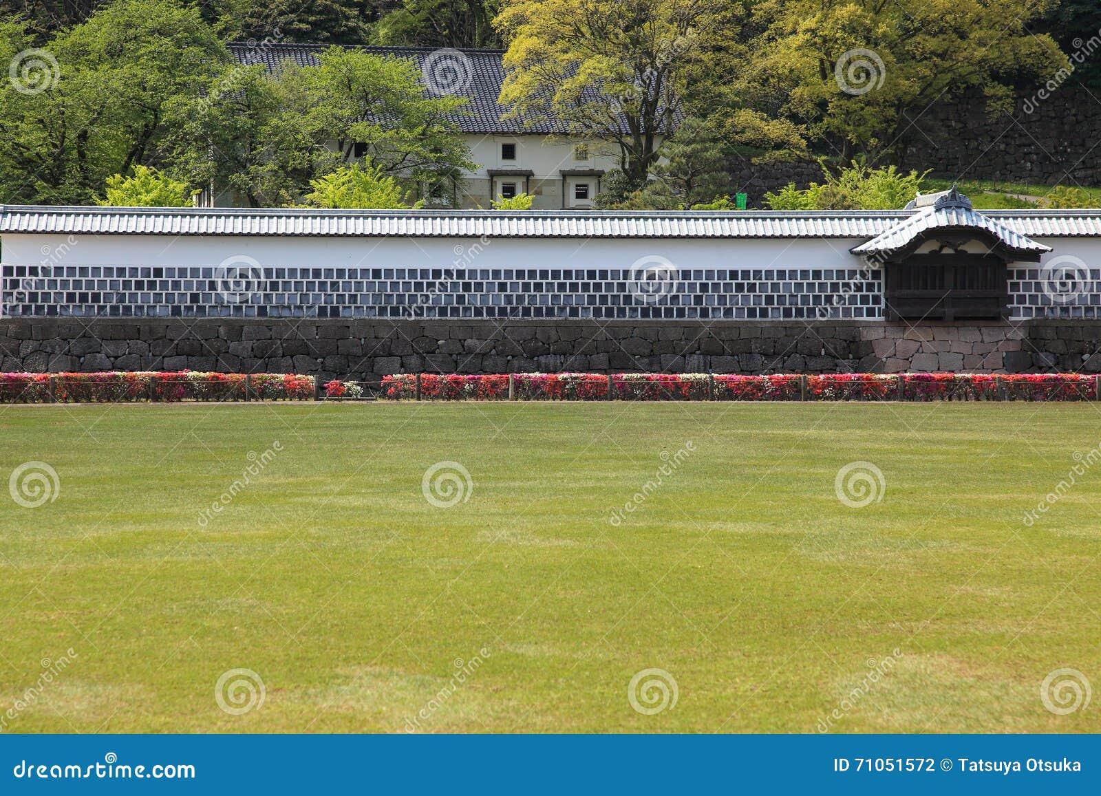 Download Japanese castle wall stock photo. Image of azalea, castle - 71051572