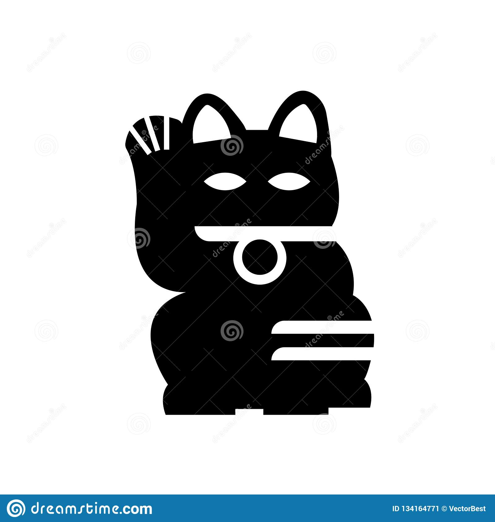 Japanese Cat Icon Vector Sign And Symbol Isolated On White