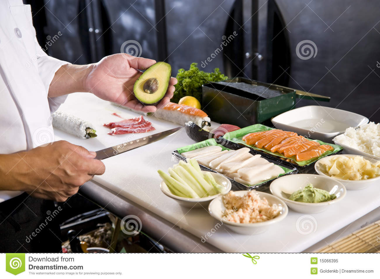 Japanese chef in restaurant with sushi ingredients stock for Asian cuisine ingredients