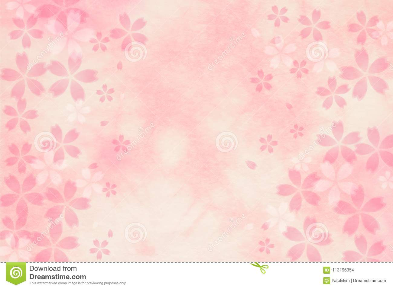 Japanese Cherry Blossom Abstract On Pink Paper Background