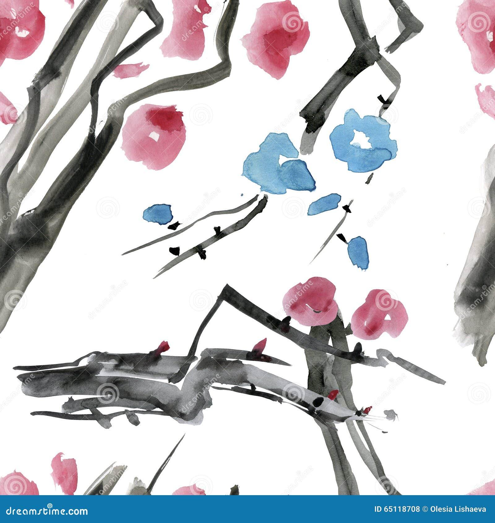 Japanese Cherry Blossom Sakura Tree Seamless Watercolor Pattern