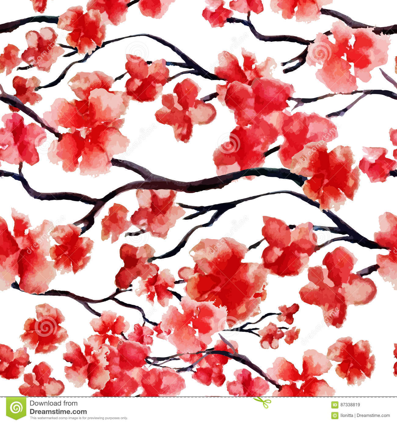 Japanese cherry branch spring blossom, red sakura tree seamless watercolor pattern. Vector illustration, ready for print