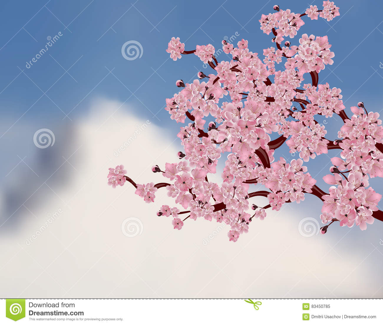 Japanese Cherry Tree Sakura Branch With Pink Flowers On A