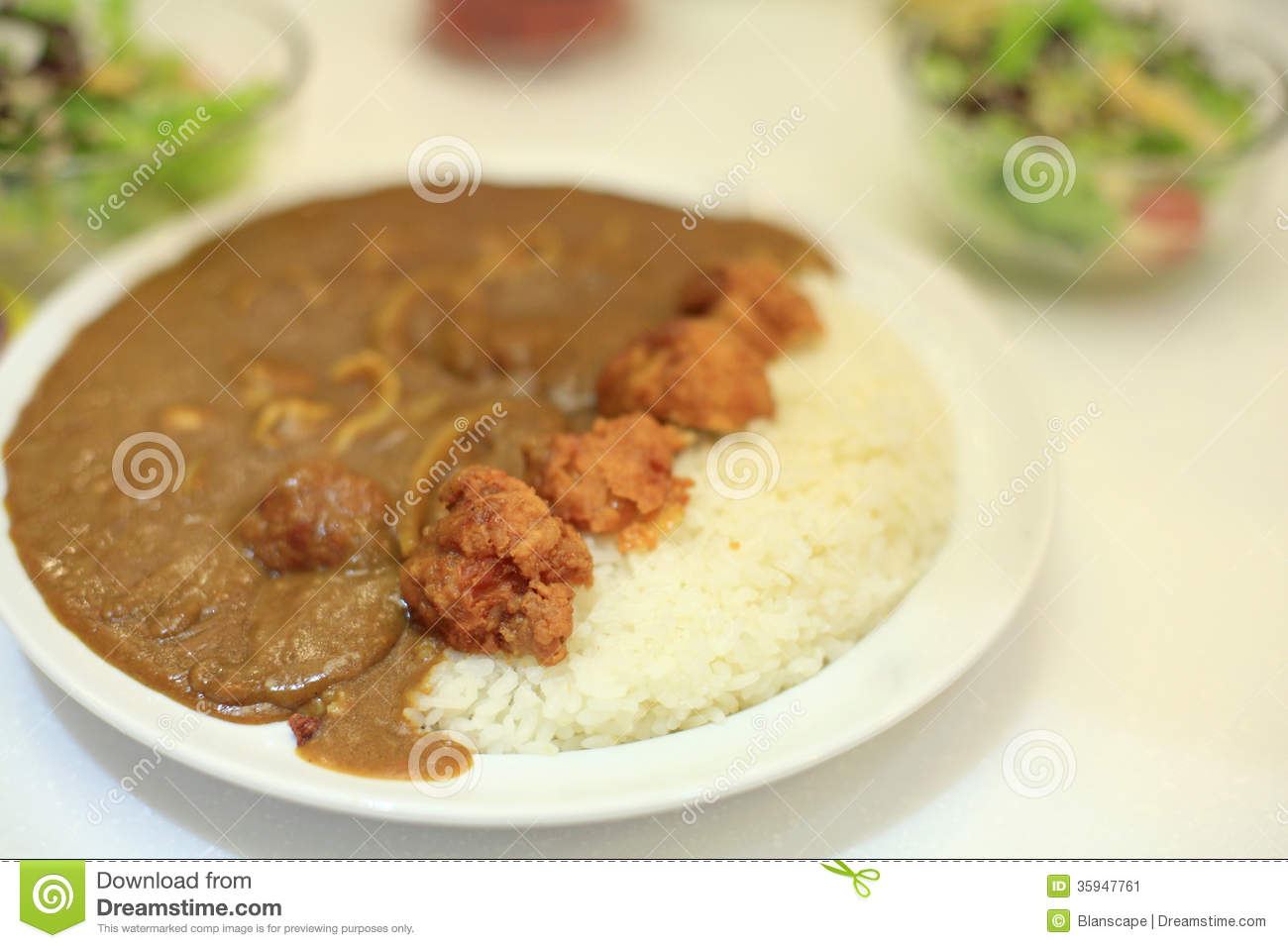 Japanese Chicken Curry With Stream Rice Stock Image - Image: 35947761